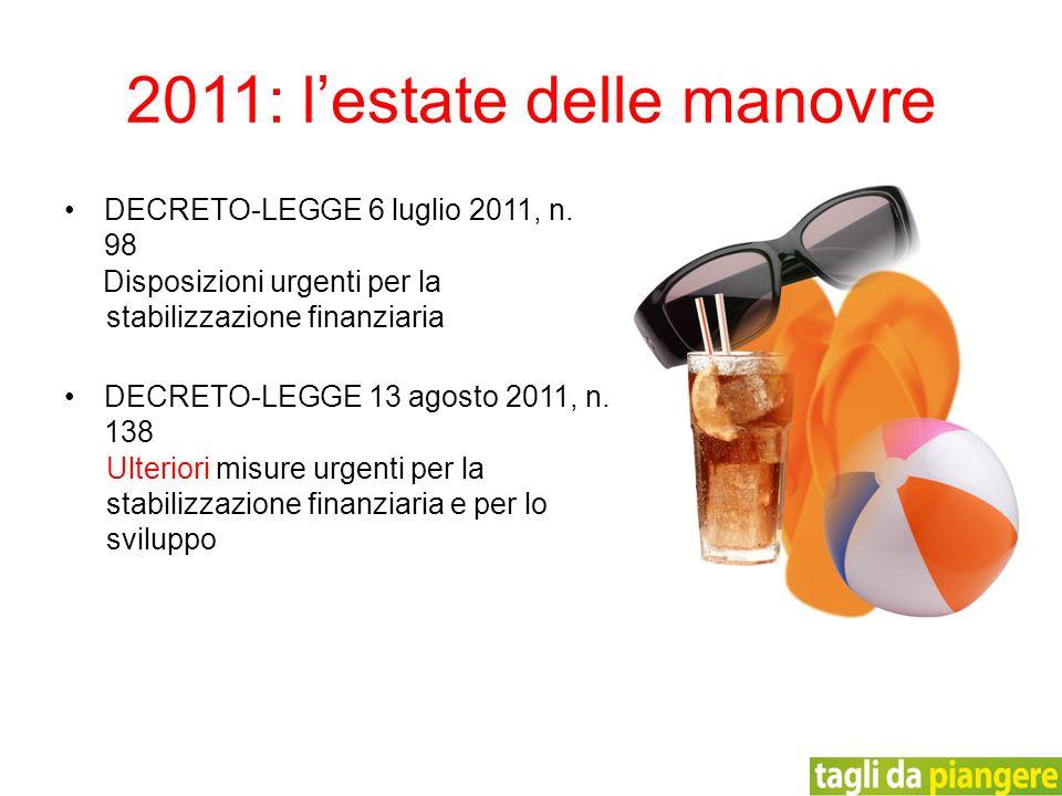 2011: lestate delle manovre DECRETO-LEGGE 6 luglio 2011, n. 98 Disposizioni urgenti per la stabilizzazione finanziaria DECRETO-LEGGE 13 agosto 2011, n