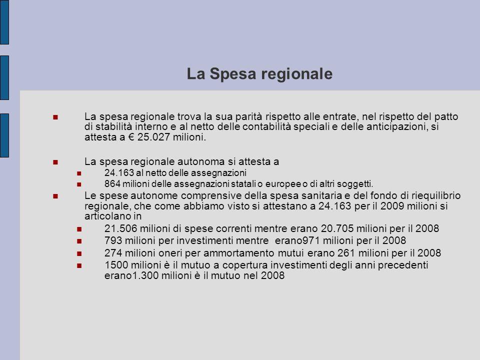 La Spesa regionale La spesa regionale trova la sua parità rispetto alle entrate, nel rispetto del patto di stabilità interno e al netto delle contabil