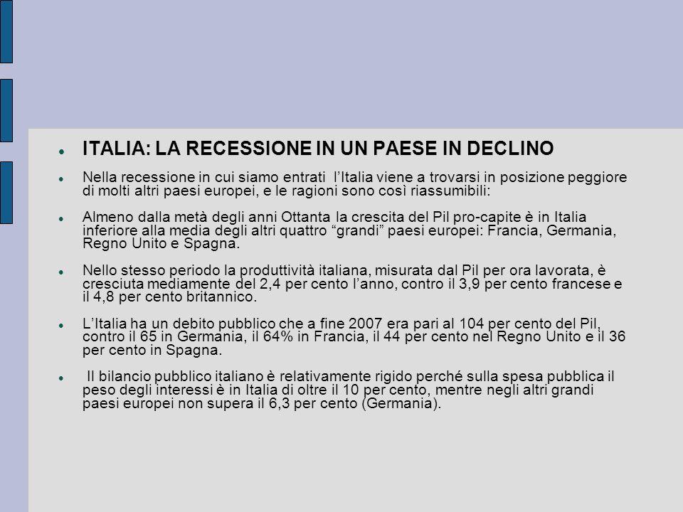 ITALIA: LA RECESSIONE IN UN PAESE IN DECLINO Nella recessione in cui siamo entrati lItalia viene a trovarsi in posizione peggiore di molti altri paesi