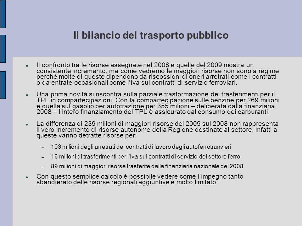 Il bilancio del trasporto pubblico Il confronto tra le risorse assegnate nel 2008 e quelle del 2009 mostra un consistente incremento, ma come vedremo