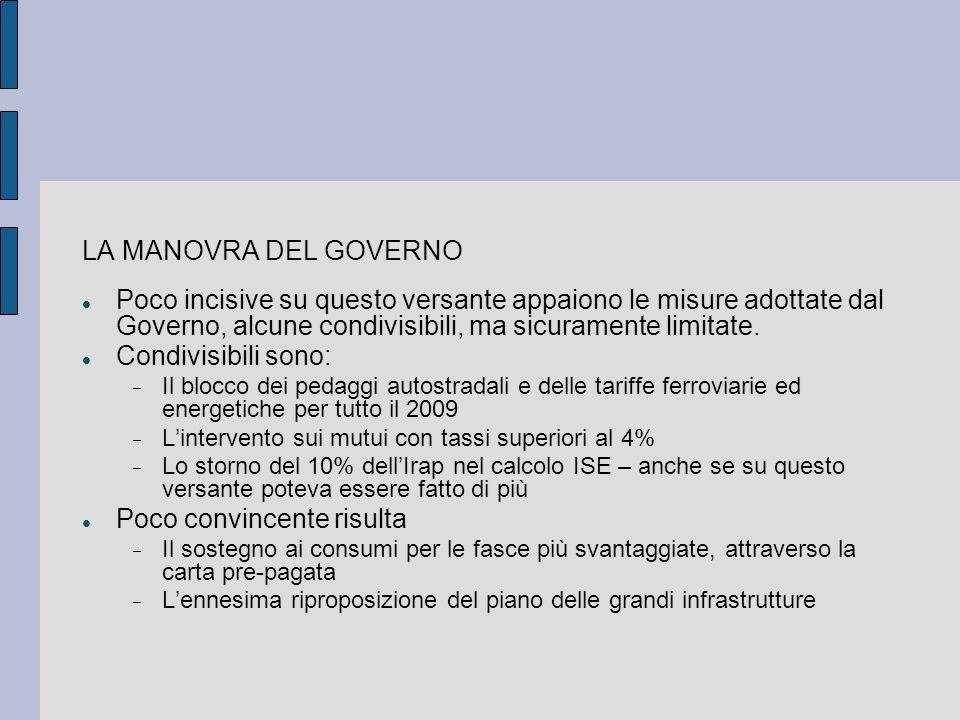LA MANOVRA DEL GOVERNO Poco incisive su questo versante appaiono le misure adottate dal Governo, alcune condivisibili, ma sicuramente limitate. Condiv