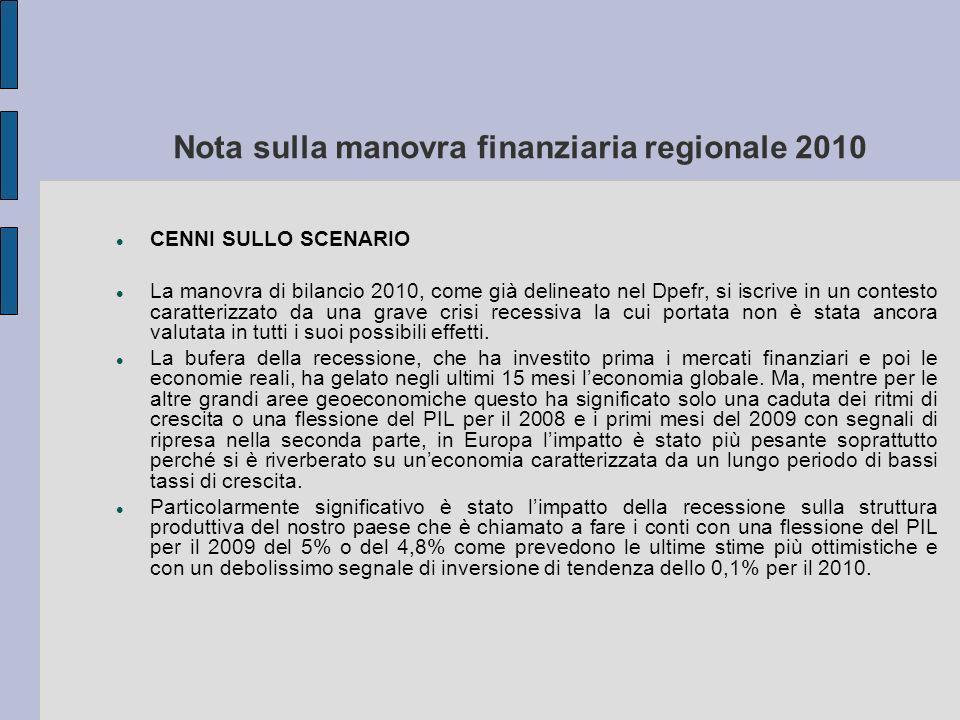 Nota sulla manovra finanziaria regionale 2010 CENNI SULLO SCENARIO La manovra di bilancio 2010, come già delineato nel Dpefr, si iscrive in un contesto caratterizzato da una grave crisi recessiva la cui portata non è stata ancora valutata in tutti i suoi possibili effetti.