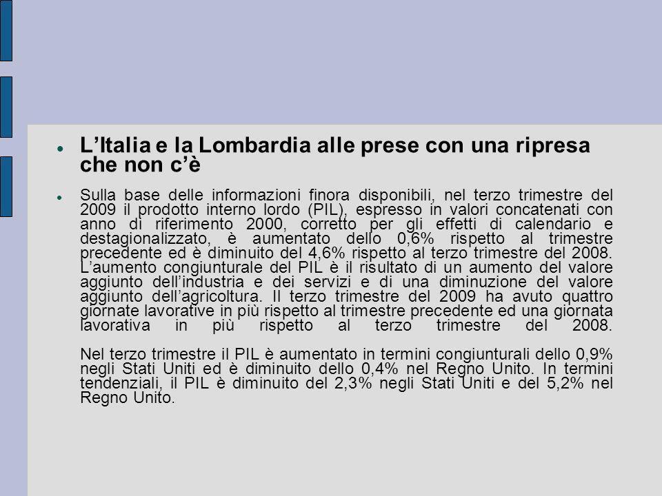 LItalia e la Lombardia alle prese con una ripresa che non cè Sulla base delle informazioni finora disponibili, nel terzo trimestre del 2009 il prodott