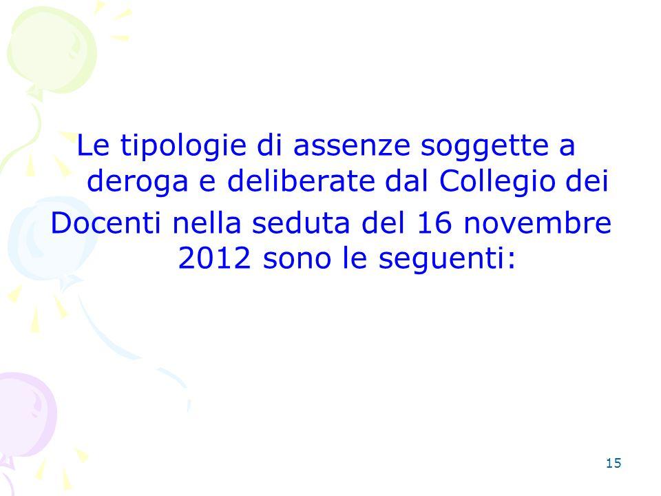 15 Le tipologie di assenze soggette a deroga e deliberate dal Collegio dei Docenti nella seduta del 16 novembre 2012 sono le seguenti: