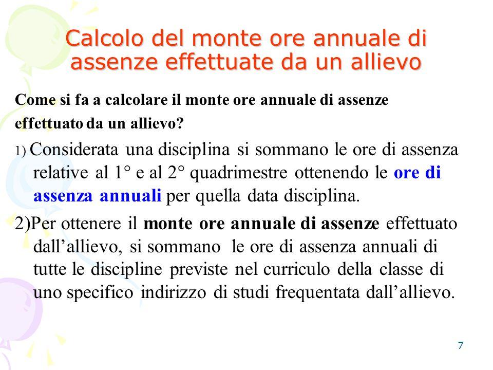 7 Calcolo del monte ore annuale di assenze effettuate da un allievo Come si fa a calcolare il monte ore annuale di assenze effettuato da un allievo.