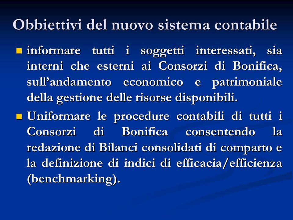 Obbiettivi del nuovo sistema contabile informare tutti i soggetti interessati, sia interni che esterni ai Consorzi di Bonifica, sullandamento economic