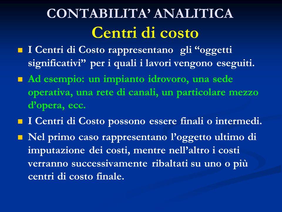 CONTABILITA ANALITICA Centri di costo I Centri di Costo rappresentano gli oggetti significativi per i quali i lavori vengono eseguiti. Ad esempio: un