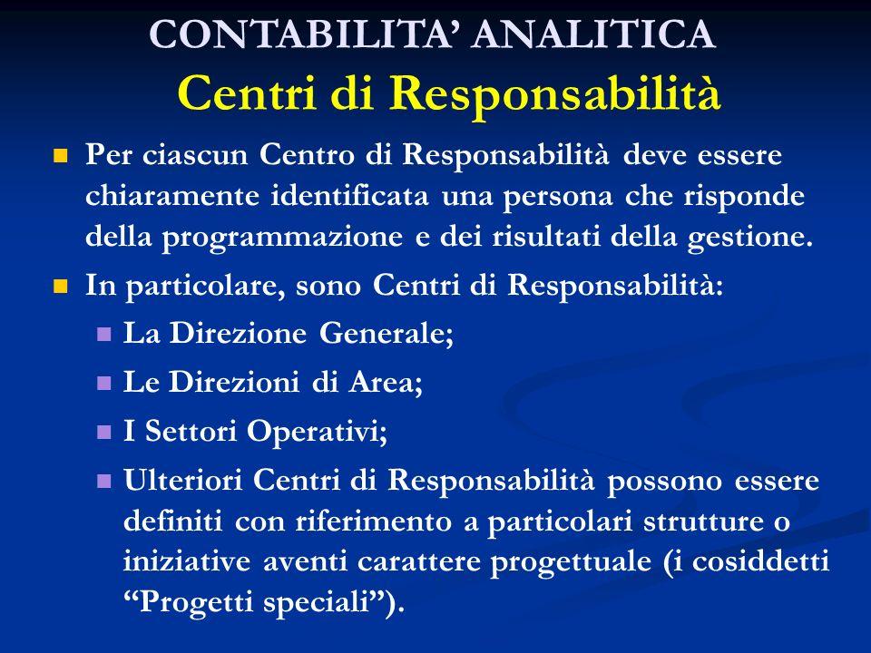 Per ciascun Centro di Responsabilità deve essere chiaramente identificata una persona che risponde della programmazione e dei risultati della gestione