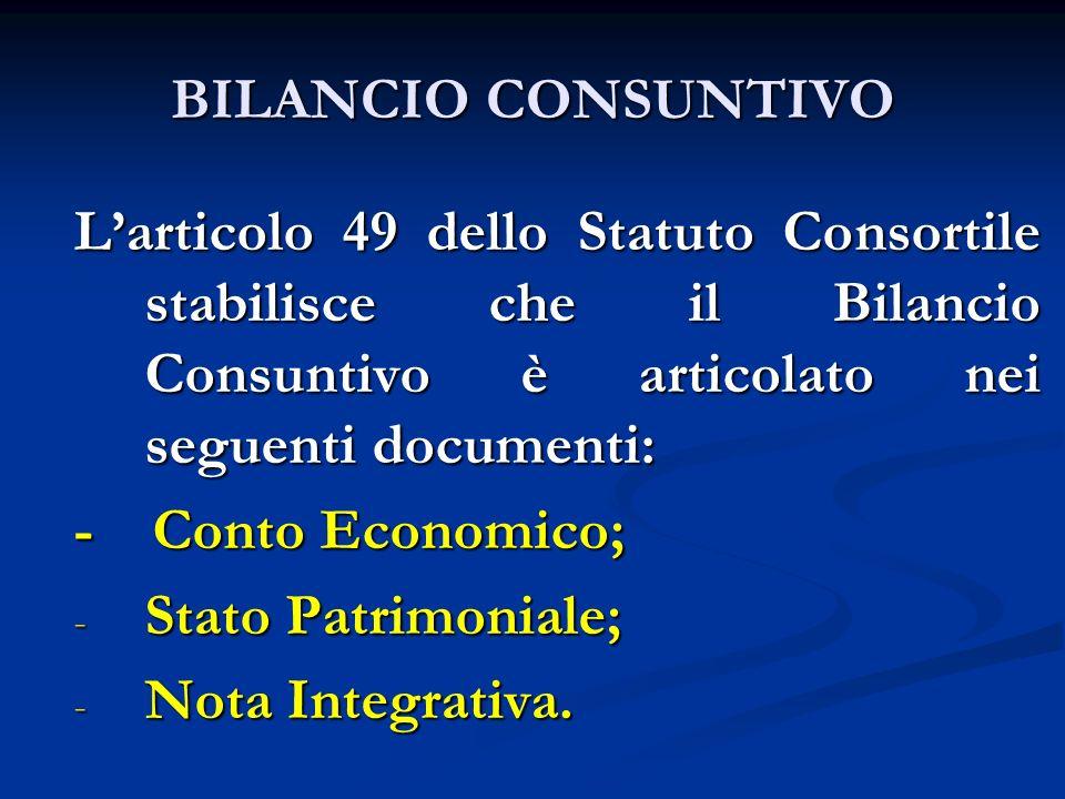 BILANCIO CONSUNTIVO Larticolo 49 dello Statuto Consortile stabilisce che il Bilancio Consuntivo è articolato nei seguenti documenti: - Conto Economico