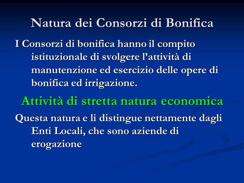 Natura dei Consorzi di Bonifica I Consorzi di bonifica hanno il compito istituzionale di svolgere lattività di manutenzione ed esercizio delle opere d