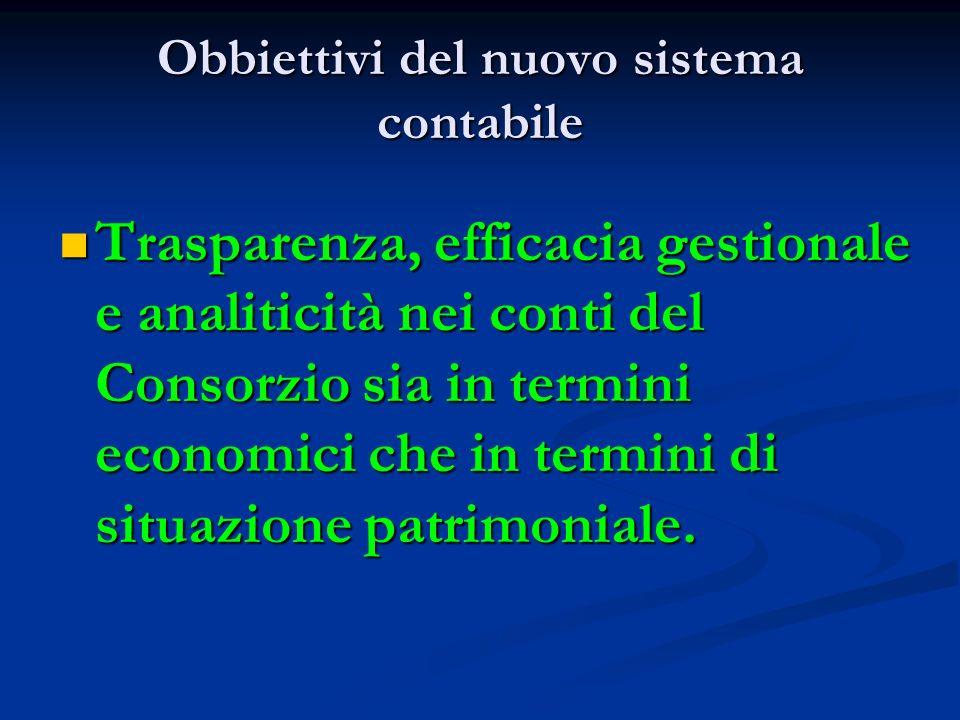 Obbiettivi del nuovo sistema contabile Trasparenza, efficacia gestionale e analiticità nei conti del Consorzio sia in termini economici che in termini