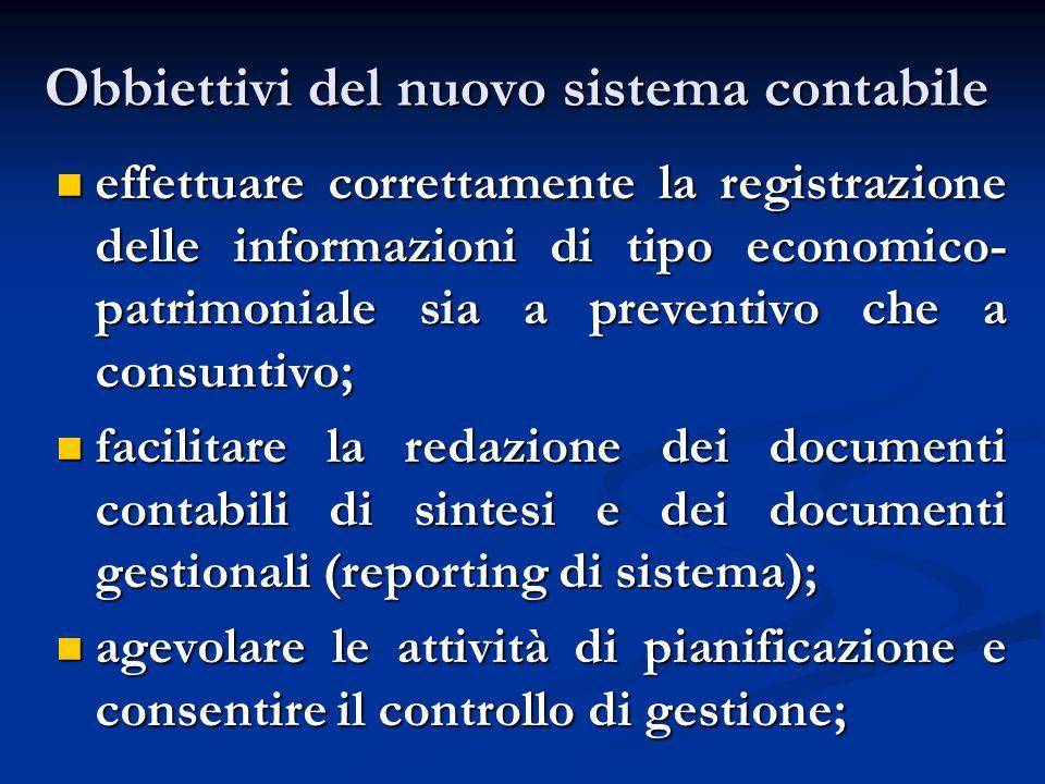 Obbiettivi del nuovo sistema contabile effettuare correttamente la registrazione delle informazioni di tipo economico- patrimoniale sia a preventivo c