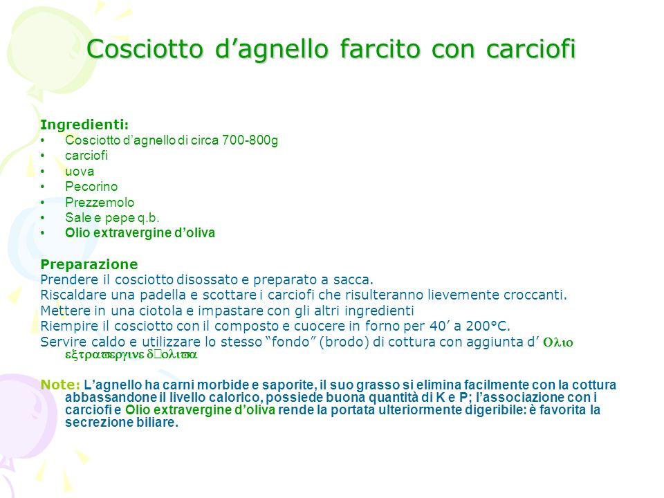 Cosciotto dagnello farcito con carciofi Ingredienti: Cosciotto dagnello di circa 700-800g carciofi uova Pecorino Prezzemolo Sale e pepe q.b. Olio extr
