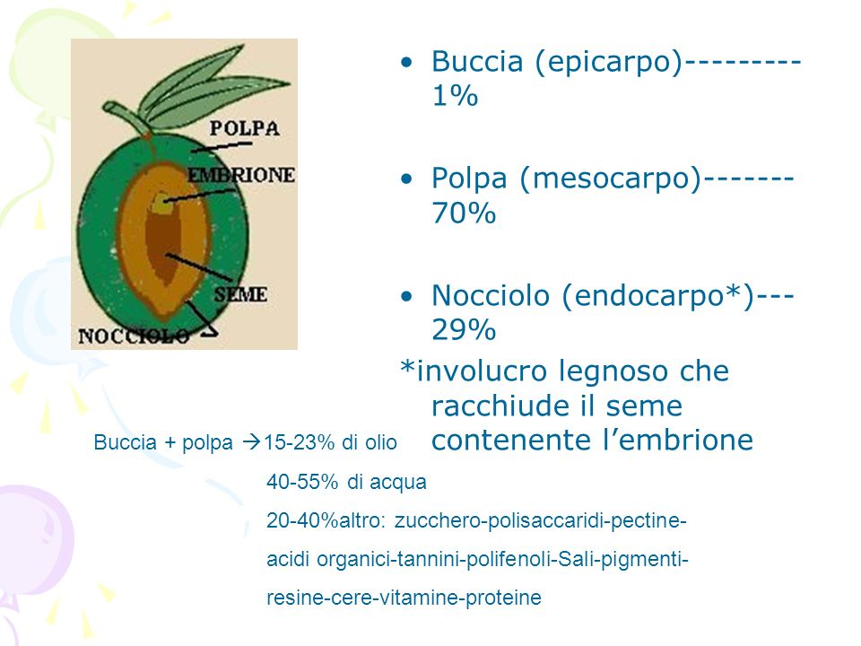 Buccia (epicarpo)--------- 1% Polpa (mesocarpo)------- 70% Nocciolo (endocarpo*)--- 29% *involucro legnoso che racchiude il seme contenente lembrione
