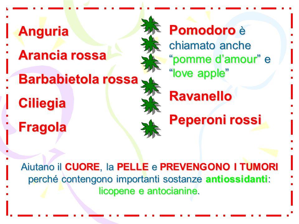 Anguria Arancia rossa Barbabietola rossa CiliegiaFragola Aiutano il CUORE, la PELLE e PREVENGONO I TUMORI perché contengono importanti sostanze antios