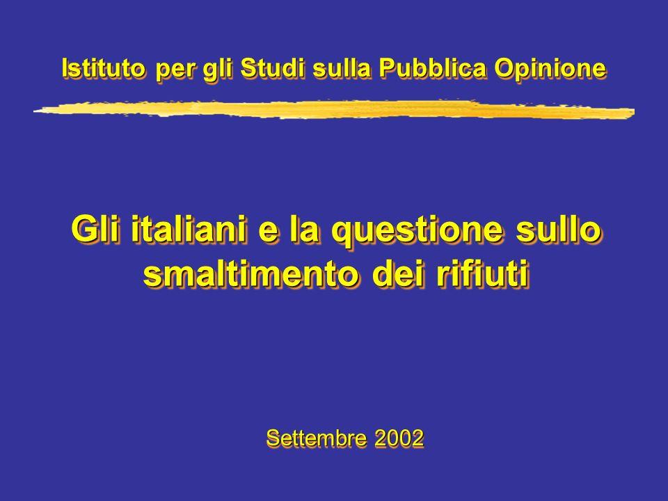 Gli italiani e la questione sullo smaltimento dei rifiuti Istituto per gli Studi sulla Pubblica Opinione Settembre 2002