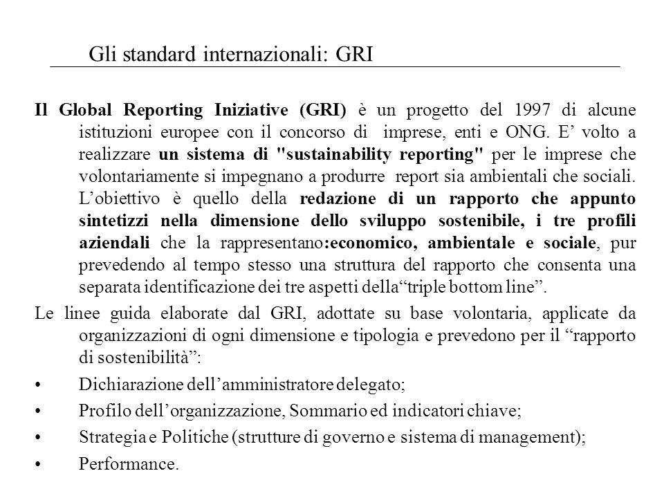 Gli standard internazionali: GRI Il Global Reporting Iniziative (GRI) è un progetto del 1997 di alcune istituzioni europee con il concorso di imprese, enti e ONG.