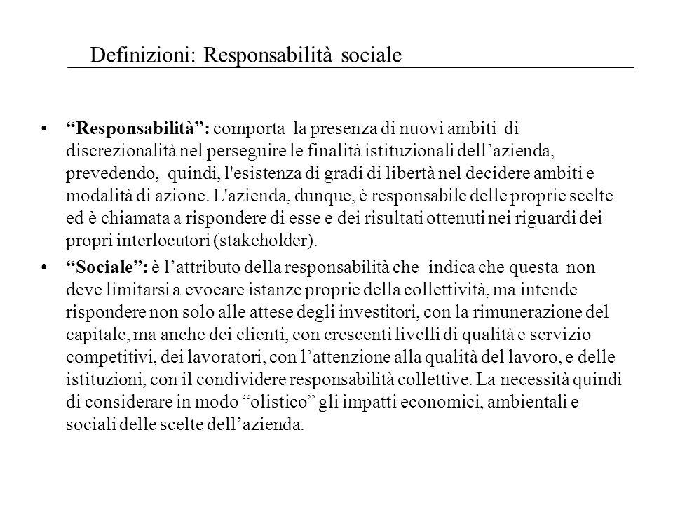 Responsabilità: comporta la presenza di nuovi ambiti di discrezionalità nel perseguire le finalità istituzionali dellazienda, prevedendo, quindi, l esistenza di gradi di libertà nel decidere ambiti e modalità di azione.