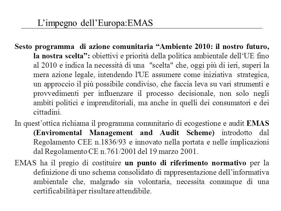 Limpegno dellEuropa:EMAS Sesto programma di azione comunitaria Ambiente 2010: il nostro futuro, la nostra scelta: obiettivi e priorità della politica ambientale dellUE fino al 2010 e indica la necessità di una scelta che, oggi più di ieri, superi la mera azione legale, intendendo l UE assumere come iniziativa strategica, un approccio il più possibile condiviso, che faccia leva su vari strumenti e provvedimenti per influenzare il processo decisionale, non solo negli ambiti politici e imprenditoriali, ma anche in quelli dei consumatori e dei cittadini.