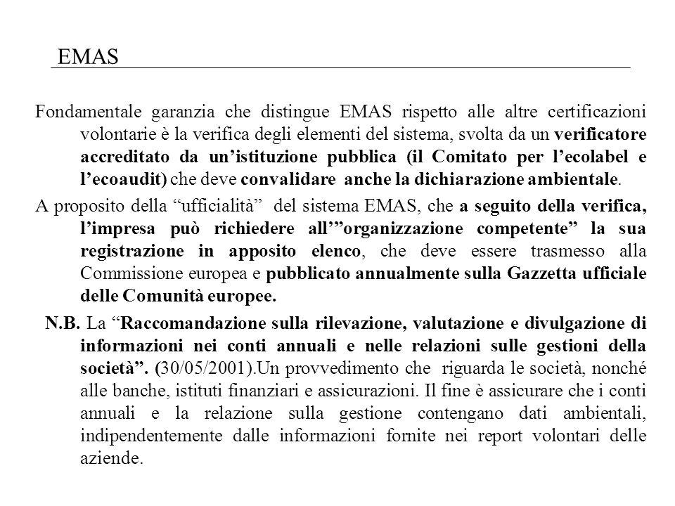 Fondamentale garanzia che distingue EMAS rispetto alle altre certificazioni volontarie è la verifica degli elementi del sistema, svolta da un verificatore accreditato da unistituzione pubblica (il Comitato per lecolabel e lecoaudit) che deve convalidare anche la dichiarazione ambientale.