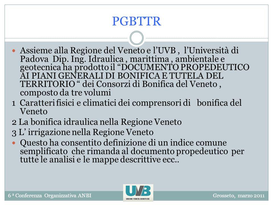 6 a Conferenza Organizzativa ANBIGrosseto, marzo 2011 PGBTTR Assieme alla Regione del Veneto e lUVB, lUniversità di Padova Dip. Ing. Idraulica, maritt
