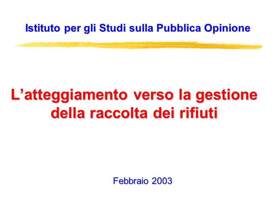 Latteggiamento verso la gestione della raccolta dei rifiuti Istituto per gli Studi sulla Pubblica Opinione Febbraio 2003
