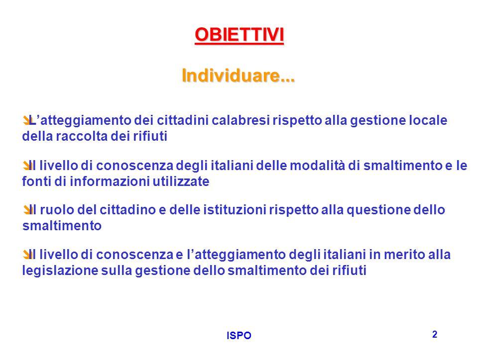 ISPO 2 OBIETTIVI Il livello di conoscenza degli italiani delle modalità di smaltimento e le fonti di informazioni utilizzate Individuare...