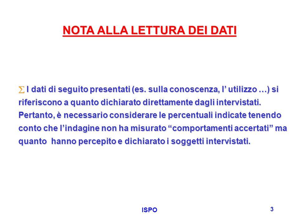 ISPO 3 NOTA ALLA LETTURA DEI DATI I dati di seguito presentati (es.