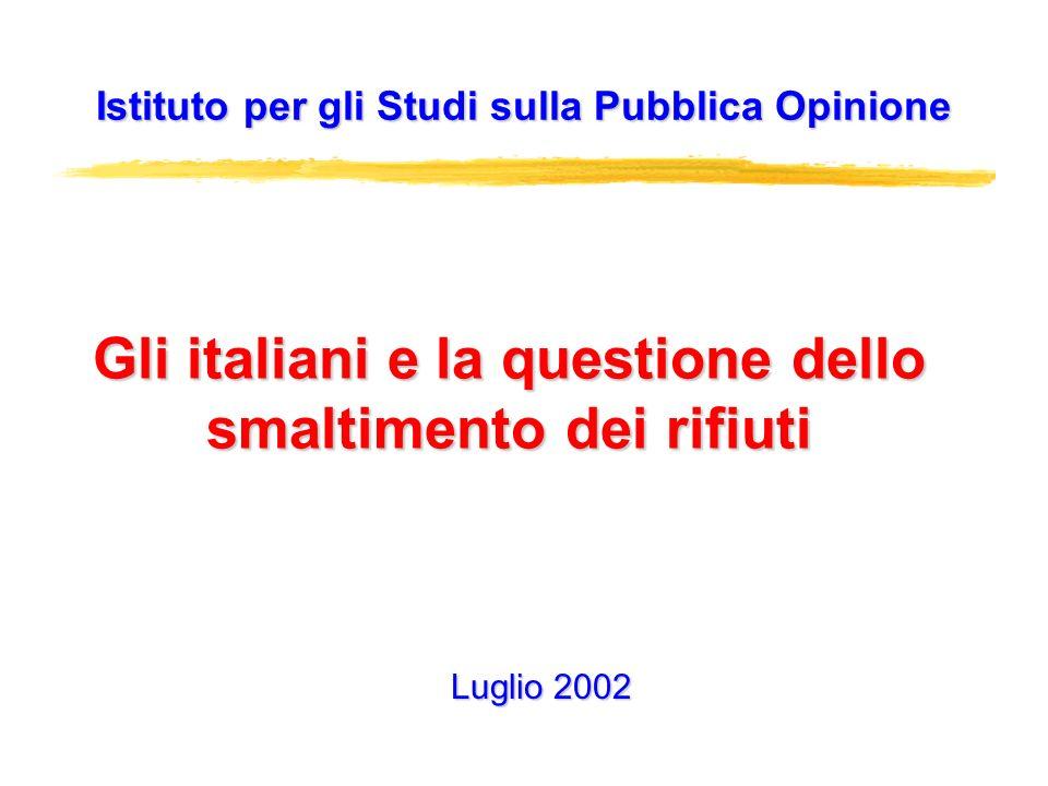 Gli italiani e la questione dello smaltimento dei rifiuti Istituto per gli Studi sulla Pubblica Opinione Luglio 2002