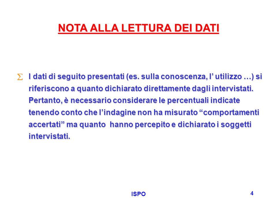 ISPO 4 NOTA ALLA LETTURA DEI DATI I dati di seguito presentati (es. sulla conoscenza, l utilizzo …) si riferiscono a quanto dichiarato direttamente da