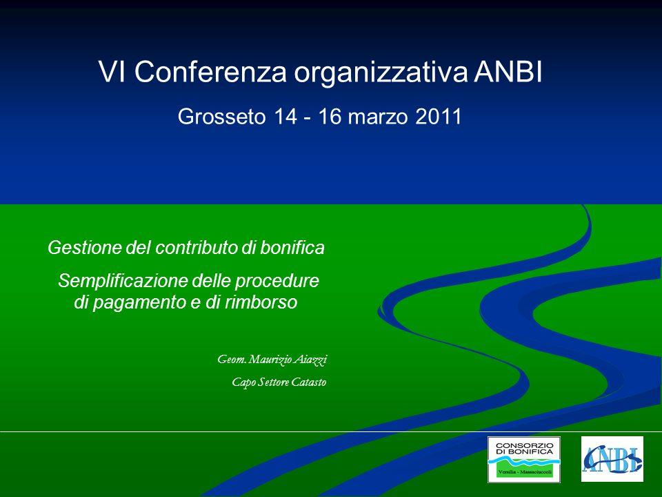 VI Conferenza organizzativa ANBI Grosseto 14 - 16 marzo 2011 Gestione del contributo di bonifica Semplificazione delle procedure di pagamento e di rimborso Geom.