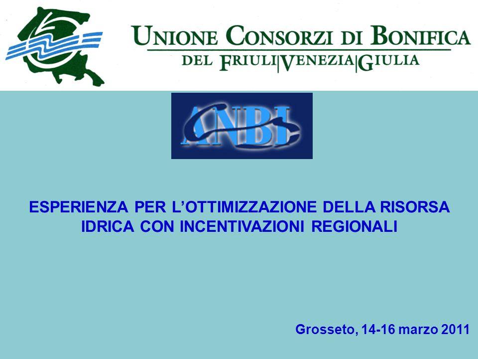 ESPERIENZA PER LOTTIMIZZAZIONE DELLA RISORSA IDRICA CON INCENTIVAZIONI REGIONALI Grosseto, 14-16 marzo 2011