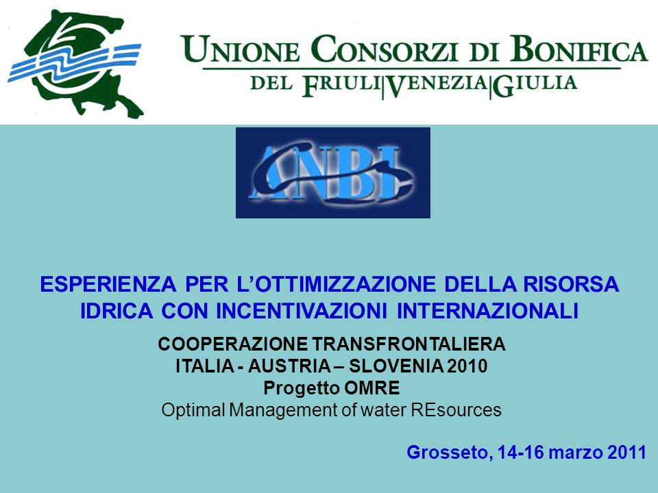 ESPERIENZA PER LOTTIMIZZAZIONE DELLA RISORSA IDRICA CON INCENTIVAZIONI INTERNAZIONALI Grosseto, 14-16 marzo 2011 COOPERAZIONE TRANSFRONTALIERA ITALIA - AUSTRIA – SLOVENIA 2010 Progetto OMRE Optimal Management of water REsources
