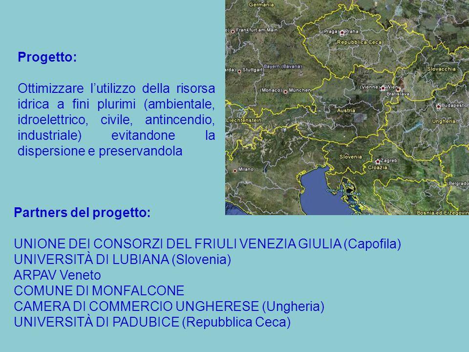 Partners del progetto: UNIONE DEI CONSORZI DEL FRIULI VENEZIA GIULIA (Capofila) UNIVERSITÀ DI LUBIANA (Slovenia) ARPAV Veneto COMUNE DI MONFALCONE CAMERA DI COMMERCIO UNGHERESE (Ungheria) UNIVERSITÀ DI PADUBICE (Repubblica Ceca) Progetto: Ottimizzare lutilizzo della risorsa idrica a fini plurimi (ambientale, idroelettrico, civile, antincendio, industriale) evitandone la dispersione e preservandola