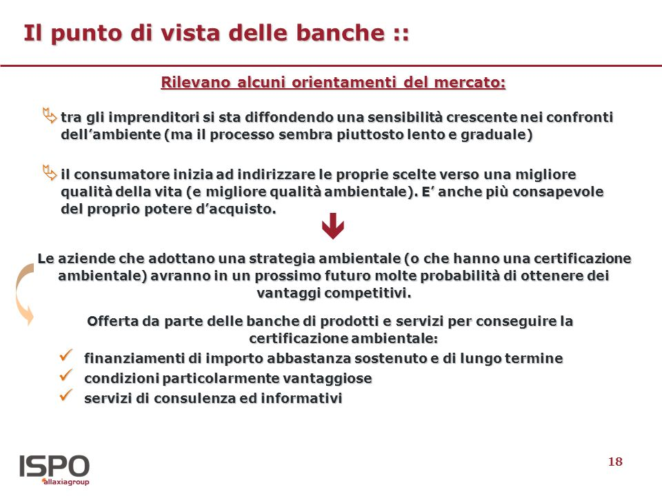 18 Il punto di vista delle banche :: tra gli imprenditori si sta diffondendo una sensibilità crescente nei confronti dellambiente (ma il processo semb