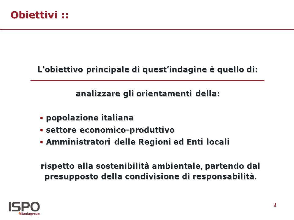 2 Obiettivi :: Lobiettivo principale di questindagine è quello di: analizzare gli orientamenti della: popolazione italiana popolazione italiana settore economico-produttivo settore economico-produttivo Amministratori delle Regioni ed Enti locali Amministratori delle Regioni ed Enti locali rispetto alla sostenibilità ambientale, partendo dal presupposto della condivisione di responsabilità.
