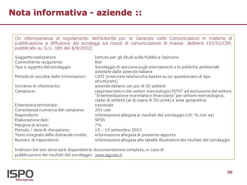 30 Nota informativa - aziende :: (In ottemperanza al regolamento dellAutorità per le Garanzie nelle Comunicazioni in materia di pubblicazione e diffus