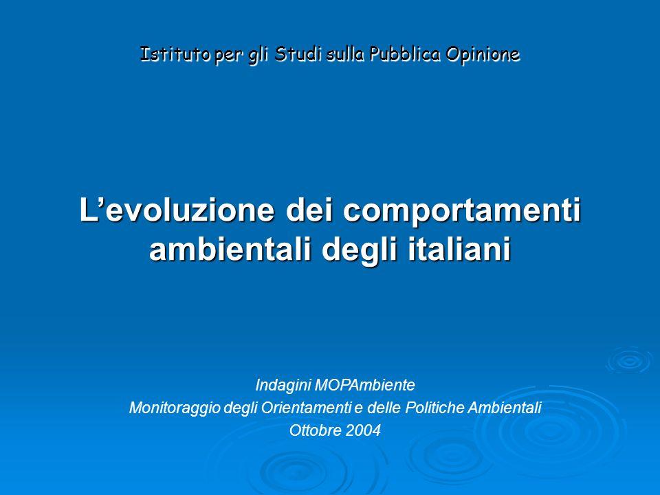 Levoluzione dei comportamenti ambientali degli italiani Istituto per gli Studi sulla Pubblica Opinione Indagini MOPAmbiente Monitoraggio degli Orientamenti e delle Politiche Ambientali Ottobre 2004