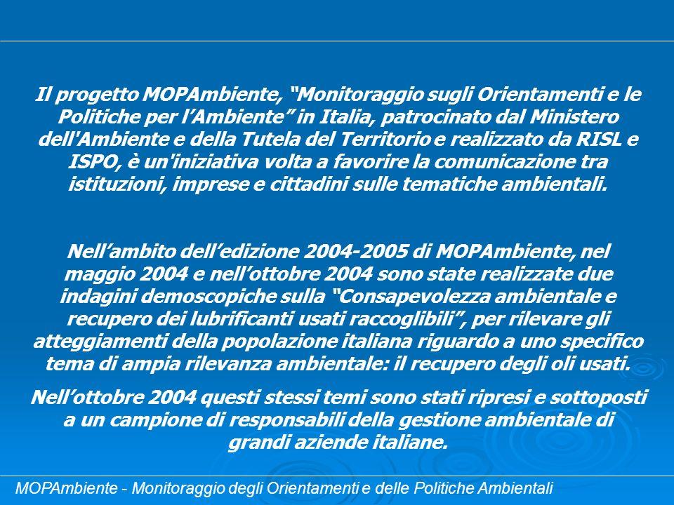 MOPAmbiente - Monitoraggio degli Orientamenti e delle Politiche Ambientali Il progetto MOPAmbiente, Monitoraggio sugli Orientamenti e le Politiche per
