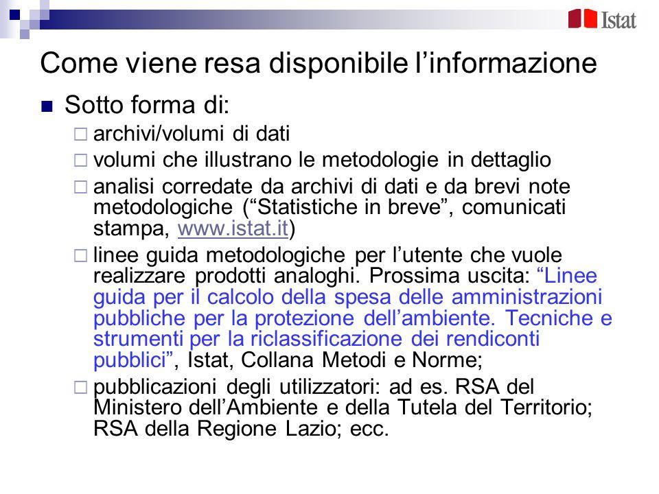 Come viene resa disponibile linformazione Sotto forma di: archivi/volumi di dati volumi che illustrano le metodologie in dettaglio analisi corredate d