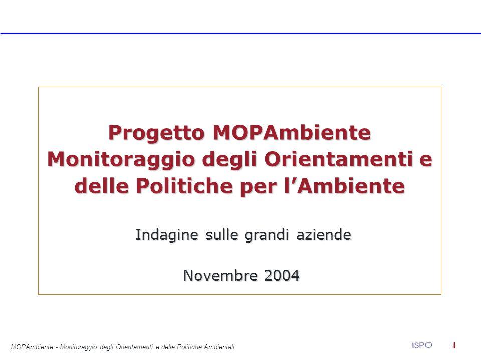 1 Progetto MOPAmbiente Monitoraggio degli Orientamenti e delle Politiche per lAmbiente Indagine sulle grandi aziende Indagine sulle grandi aziende Novembre 2004 MOPAmbiente - Monitoraggio degli Orientamenti e delle Politiche Ambientali