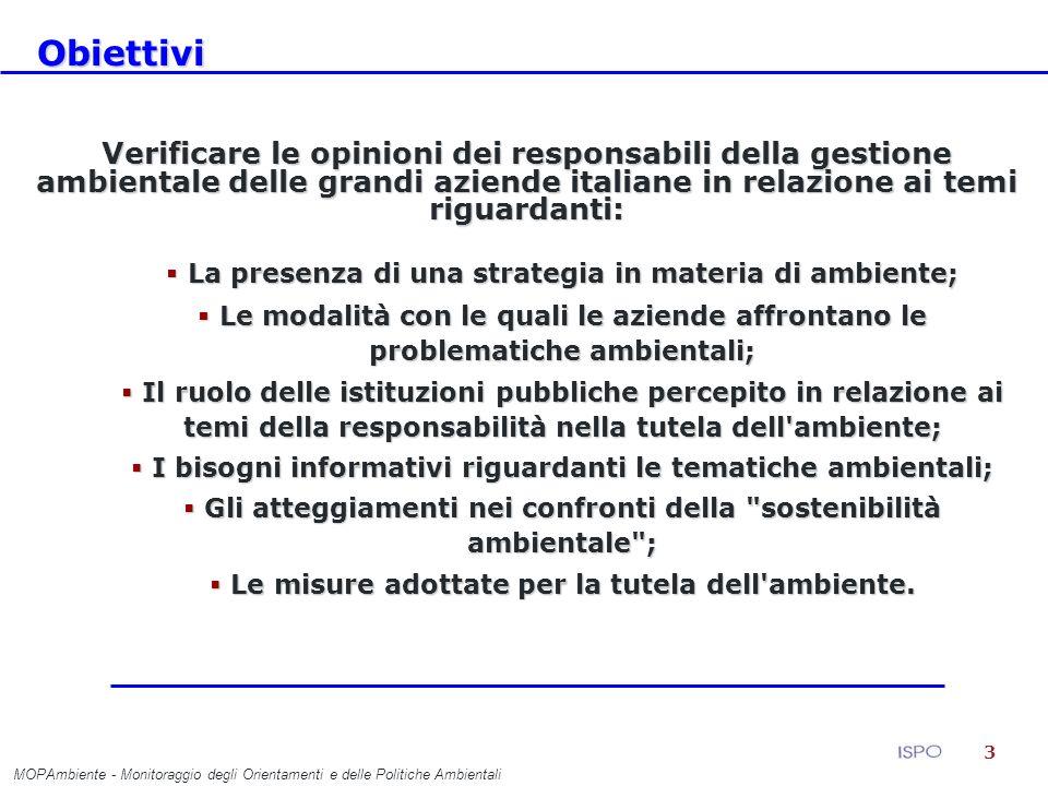 14 Il ruolo delle istituzioni pubbliche MOPAmbiente - Monitoraggio degli Orientamenti e delle Politiche Ambientali