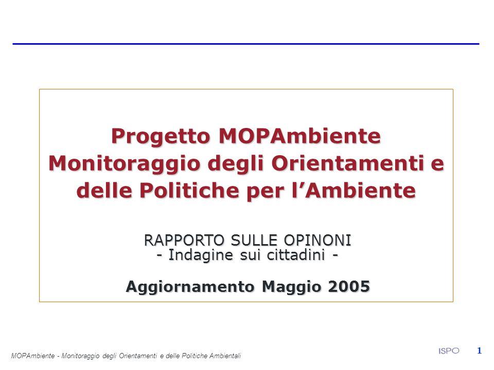 MOPAmbiente - Monitoraggio degli Orientamenti e delle Politiche Ambientali 1 Progetto MOPAmbiente Monitoraggio degli Orientamenti e delle Politiche per lAmbiente RAPPORTO SULLE OPINONI - Indagine sui cittadini - Aggiornamento Maggio 2005