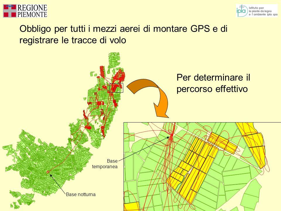 Obbligo per tutti i mezzi aerei di montare GPS e di registrare le tracce di volo Base notturna Base temporanea Per determinare il percorso effettivo