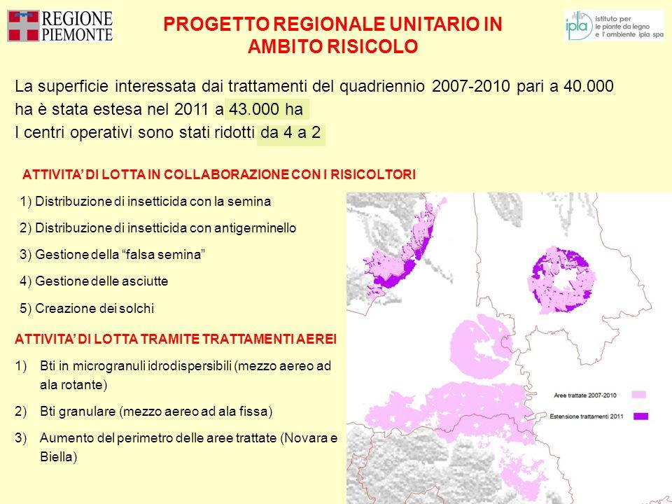 PROGETTO REGIONALE UNITARIO IN AMBITO RISICOLO ATTIVITA DI LOTTA IN COLLABORAZIONE CON I RISICOLTORI 1) Distribuzione di insetticida con la semina 2)