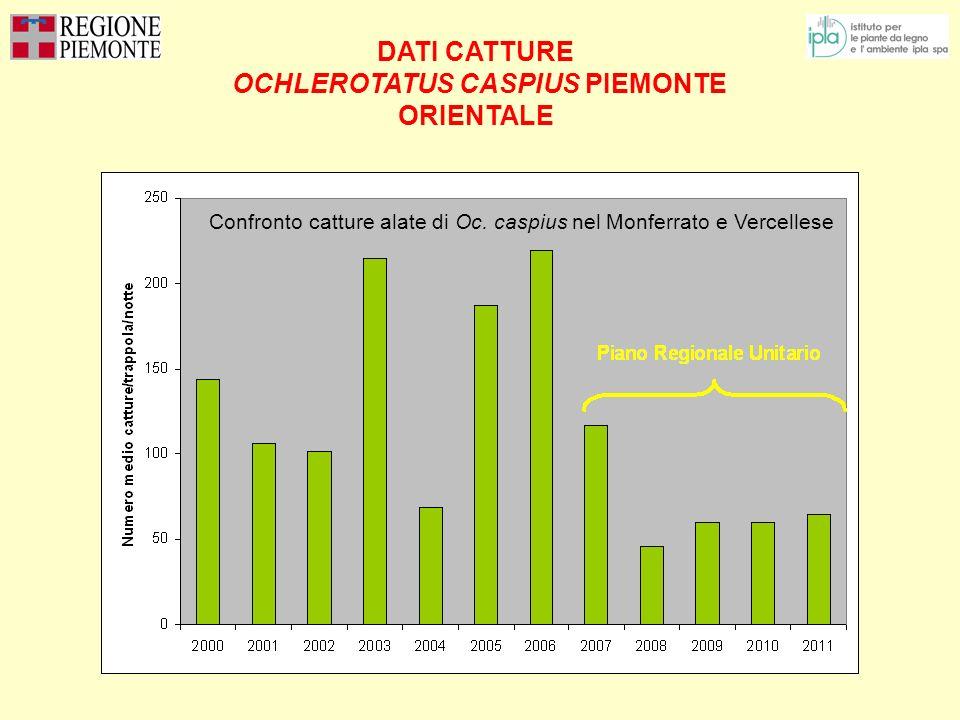 DATI CATTURE OCHLEROTATUS CASPIUS PIEMONTE ORIENTALE Confronto catture alate di Oc. caspius nel Monferrato e Vercellese