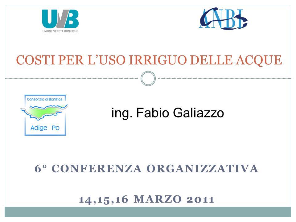 6° CONFERENZA ORGANIZZATIVA 14,15,16 MARZO 2011 COSTI PER LUSO IRRIGUO DELLE ACQUE ing.