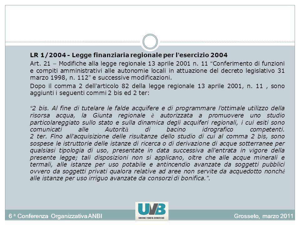 6 a Conferenza Organizzativa ANBIGrosseto, marzo 20116 a Conferenza Organizzativa ANBIGrosseto, marzo 2011 LR 1/2004 - Legge finanziaria regionale per l esercizio 2004 Art.