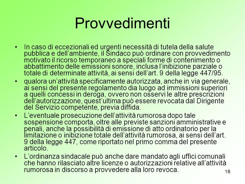 16 Provvedimenti In caso di eccezionali ed urgenti necessità di tutela della salute pubblica e dellambiente, il Sindaco può ordinare con provvedimento