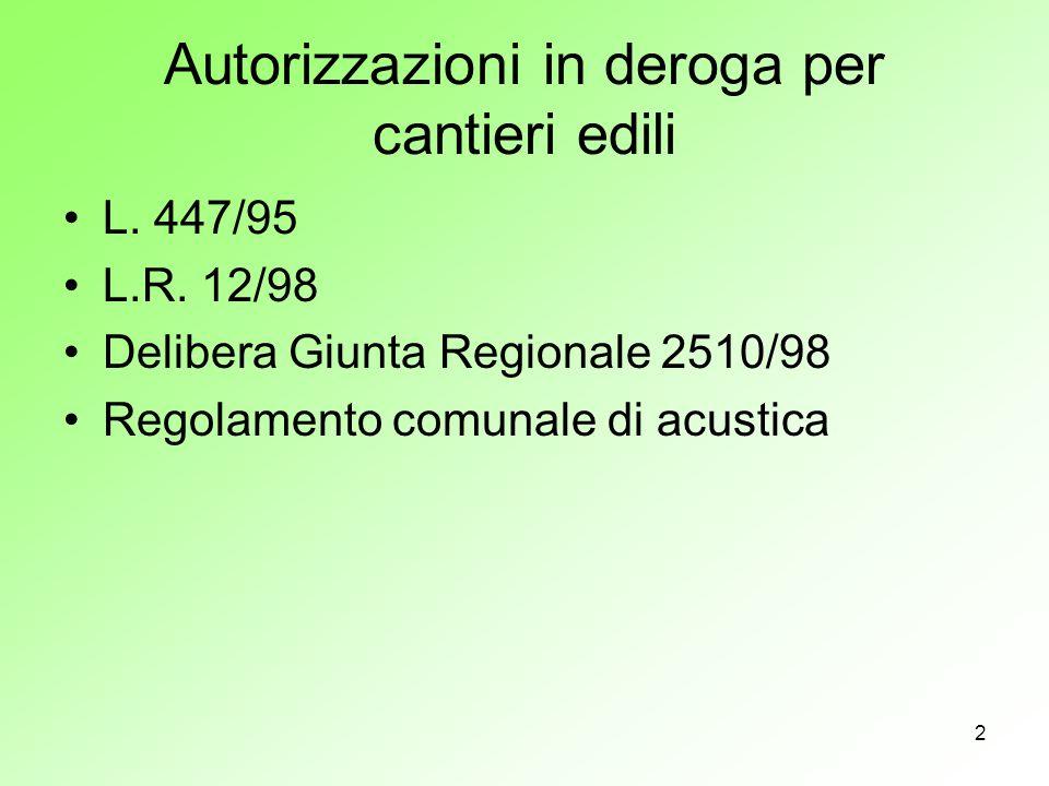 2 Autorizzazioni in deroga per cantieri edili L. 447/95 L.R. 12/98 Delibera Giunta Regionale 2510/98 Regolamento comunale di acustica